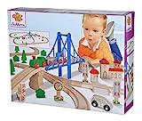 Eichhorn – Schienenbahn mit Brücke – 55-teiliges Holzeisenbahn-Set für Kinder ab 3 Jahren, mit...