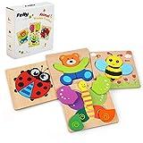 Felly Holzspielzeug ab 1 2 3 Jahren, 4 Stück 3D Kinder Holz Montessori Spielzeug Steckpuzzle für...