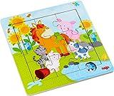 HABA 303767 - Holzrahmen-Puzzle Tierfreunde, 9-teiliges Holzpuzzle mit Tiermotiven, Holzspielzeug ab...