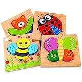 Afufu Holzpuzzle, Holzspielzeug ab 1 2 3 Jahren, 4 Stück Steckpuzzle Holz Montessori Spielzeug für...