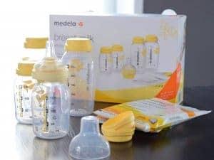 Medela Muttermilchflaschen, Muttermilchbeutel und Calma Muttermilchsauger