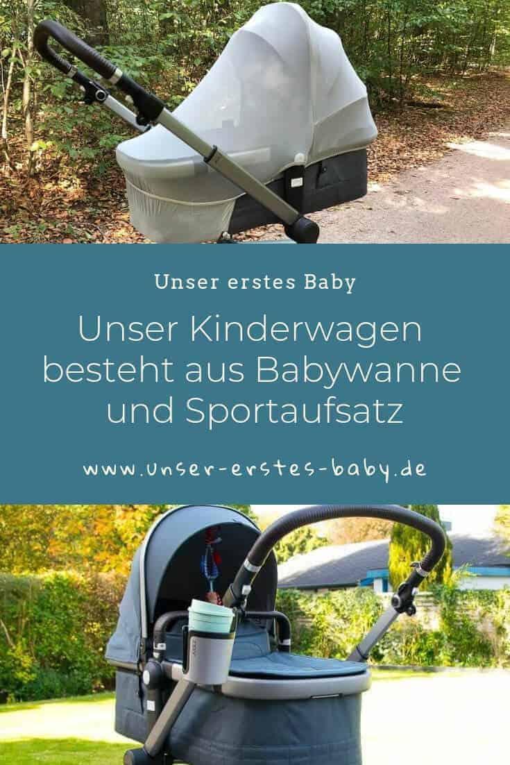 Unser Kombikinderwagen besteht aus Babywanne und Sportaufsatz