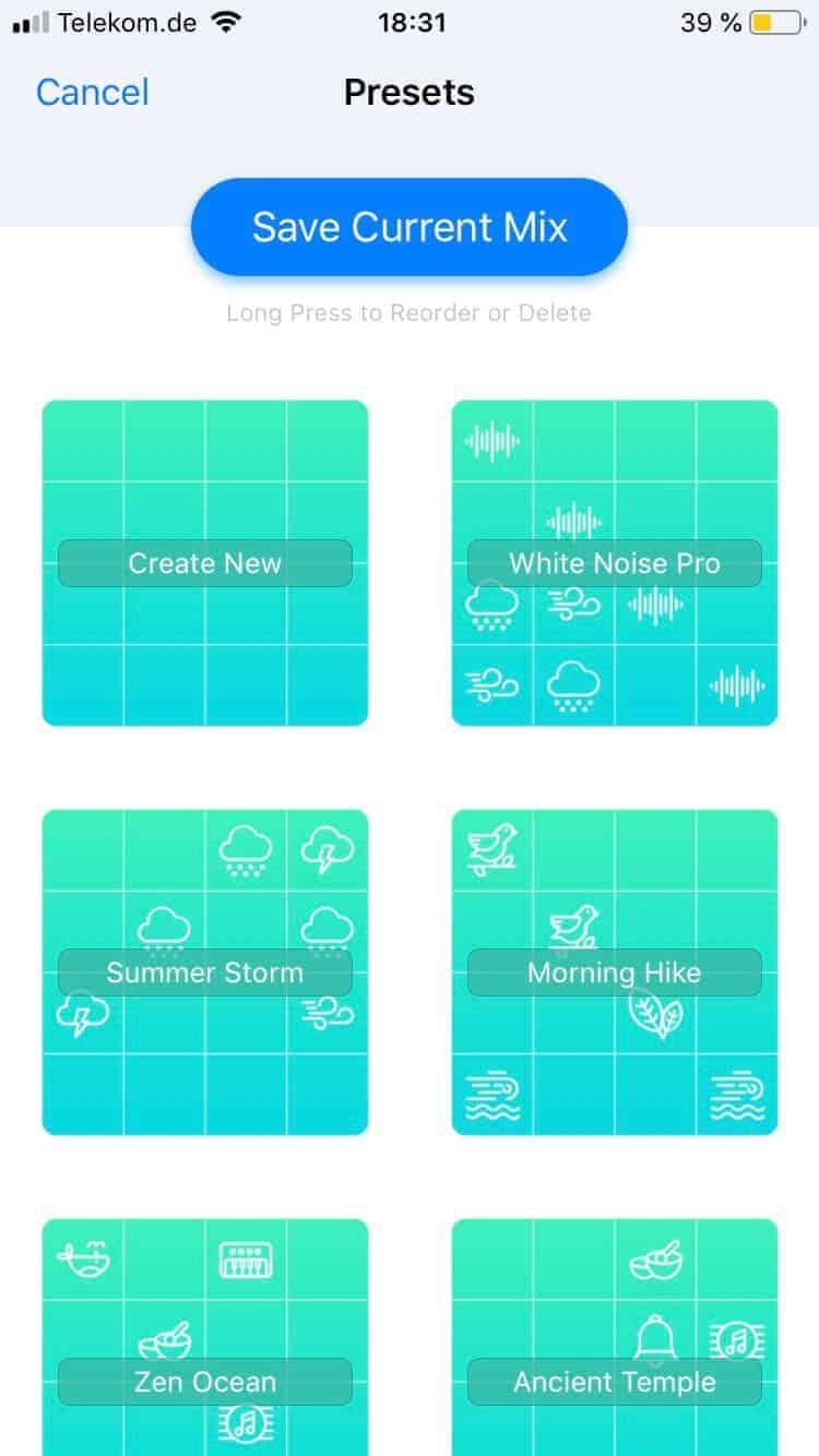 Die White Noise+ App bietet viele vordefinierte Soundkombinationen, aus denen man sich bedienen kann