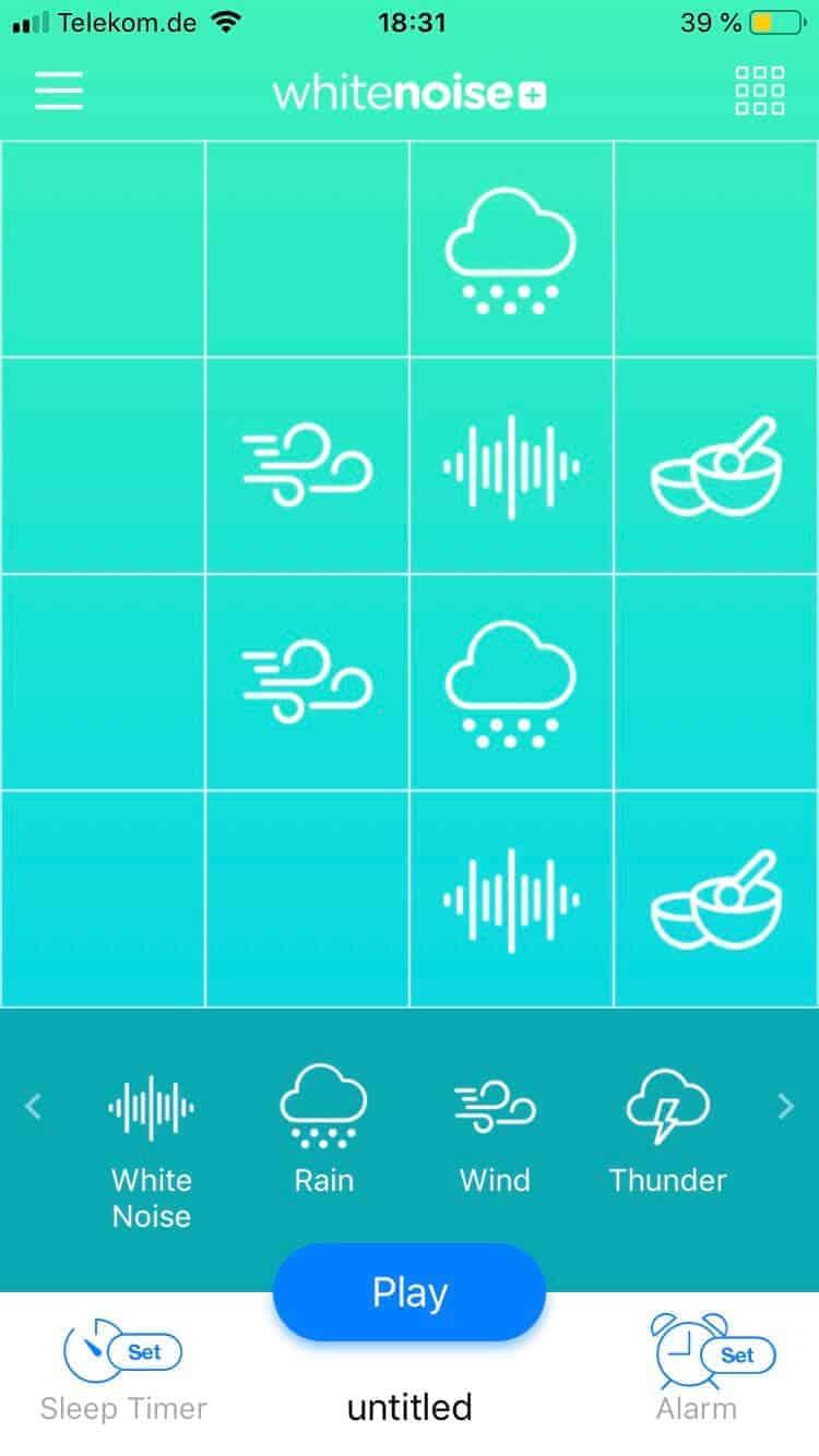 In der White Noise+ App kann man eigene Soundkombinationen zusammenstellen, wofür diverse Sounds zur Verfügung stehen
