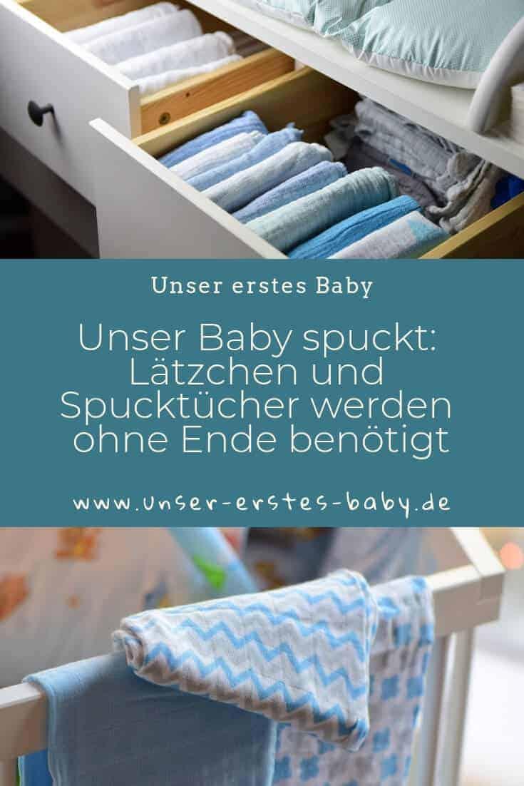 Unser Baby spuckt - Lätzchen und Spucktücher haben wir ohne Ende Zuhause