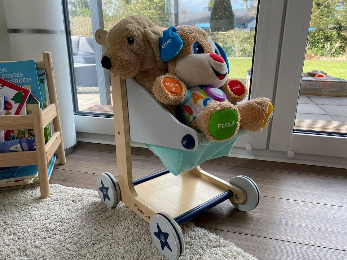 Unser Kind liebt seinen Einkaufswagen und seine Kuscheltiere, beides wird gerne durch die Gegend gefahren
