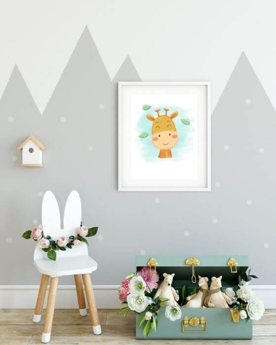 Kinderzimmer Bilder Giraffe - Poster mit Giraffe in einem weißen Rahmen mit Seitenrand