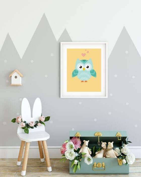 Tolles Wandbild - Poster mit einer verliebten Eule in einem weißen Rahmen mit breitem, seitlichem Rand
