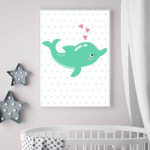 Süßes Poster mit einem Delphin auf gepunktetem Hintergrund im weißen Rahmen