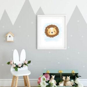 Kinderzimmer Poster Löwe - Schlichtes Tiermotiv mit Löwe in einem weißen, schlicht gehaltenen Rahmen mit Seitenrand