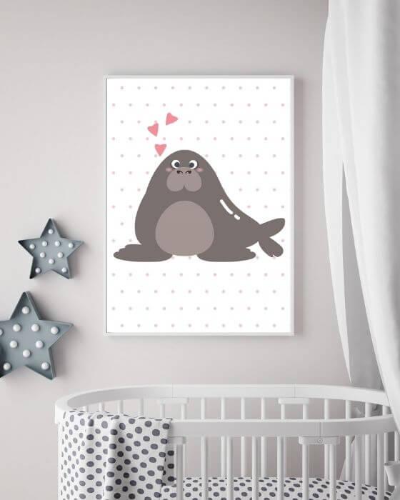 Braunes Walross eingerahmt in einen weißen Rahmen, der sehr schmal ist - Poster Kinderzimmer Tiere