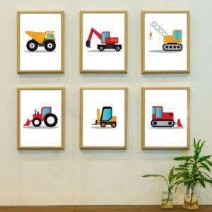 6er Set Poster Kinderzimmer Fahrzeuge - Bagger, Kipplaster, Kran, Gapelstapler, Bulldozer, Laderaupe - Die Bilder sind im bunten Design- Hier im schlichten Holzrahmen