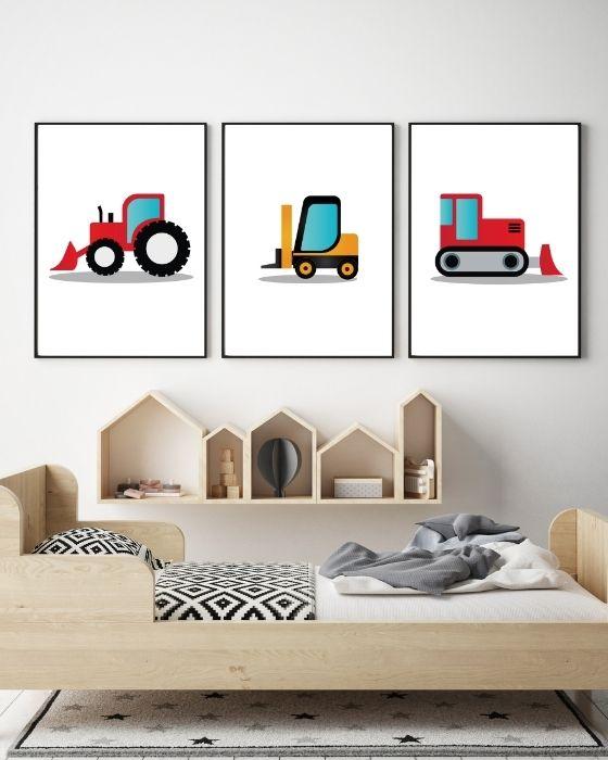 3er Set Wandbilder Fahrzeuge für Kinderzimmer - Kombination rote und gelbe Fahrzeuge - Gabelstapler, Bulldozer, Laderaupe - Hier im schwarzen Rahmen