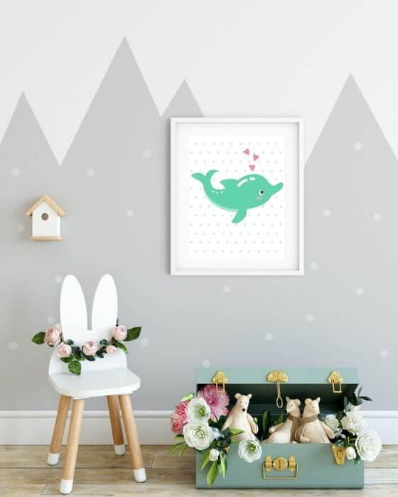 Tolles Wandbild: Poster mit Delphin in einem weißen Rahmen mit breitem, weißem Seitenrand
