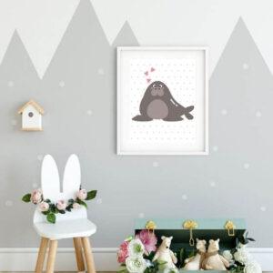 Tierbilder: Poster mit braunem Walross in weißem Rahmen mit breitem Rand