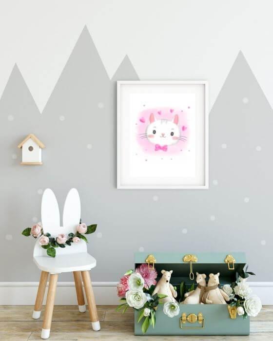 Kinderzimmer Poster Katze - Kätzchen in einem herrlichen Design in einem weißen, schlichten Rahmen mit Seitenrand