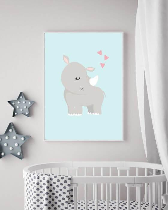Wandposter mit Nashorn in einem weißen, schmalen Rahmen für Jungen und Mädchen im Kinderzimmer