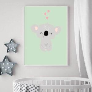 Hochwertiges Koala-Poster in einem weißen, schmalen Bilderrahmen