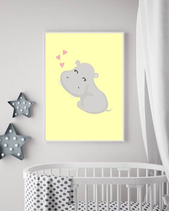 Kinderzimmer Poster mit Nilpferd in einem weißen, schmalen Rahmen