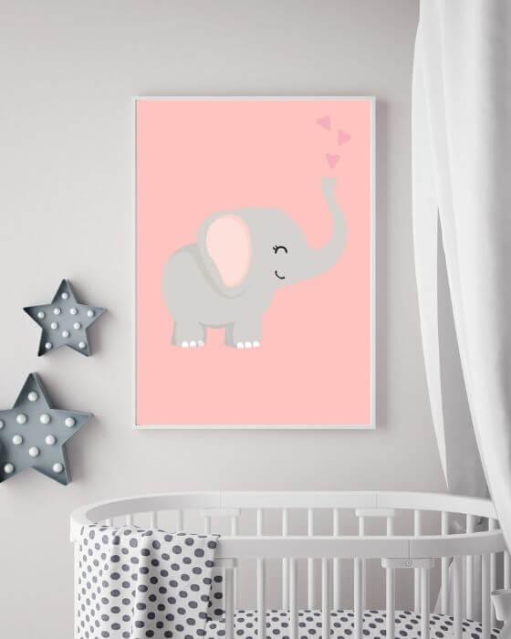 Tolles Wandbild: Schönes Tierposter mit Elefant eingebettet in einem schmalen, weißen Rahmen