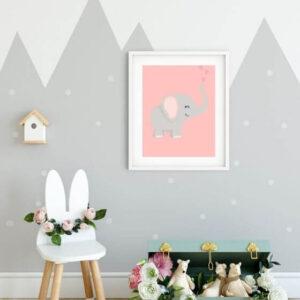 Niedliches Elefanten-Poster in einem weißen Rahmen mit breitem Seitenrand, ideal für das Zimmer deiner Kinder