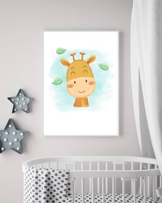 Kinderzimmer Wandbilder Giraffe - Giraffen-Poster in einem schmalen, weißen Rahmen ohne Seitenrand