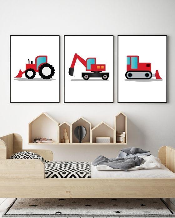 Bilder Babyzimmer 3er Set Fahrzeuge in roter Farbe - Bulldozer, Bagger, Laderaupe