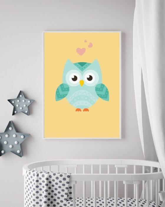 Poster Babyzimmer Eule - Diese süße Eule passt in einem großen, weißen, schmalen Rahmen in jedes Zimmer
