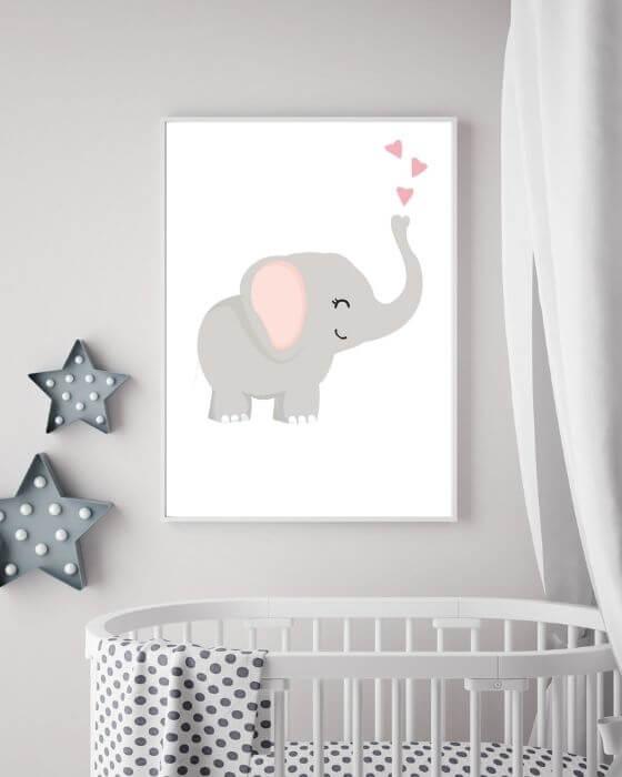 Poster Elefant: Elefantenmotiv eingebettet in einem schlichten, weißen, schmalen Rahmen