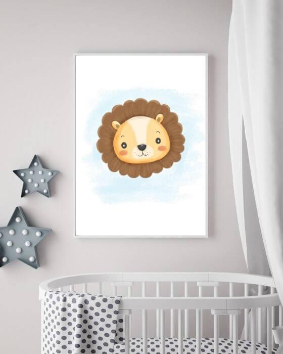 Babyzimmer Wandbilder Löwe - Süßes Löwen-Poster in einem weißen Rahmen ohne Seitenrand