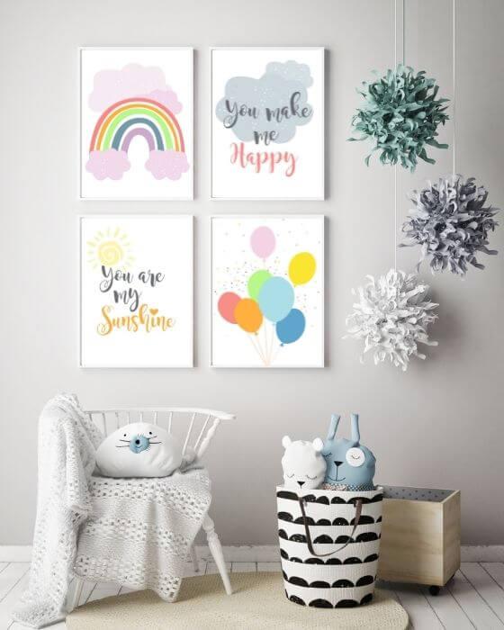 Kinderzimmer Set Regenbogen rosa - 4er Posterset mit verschiedenen Motiven im weißen, schlichten Rahmen, ohne Seitenrand
