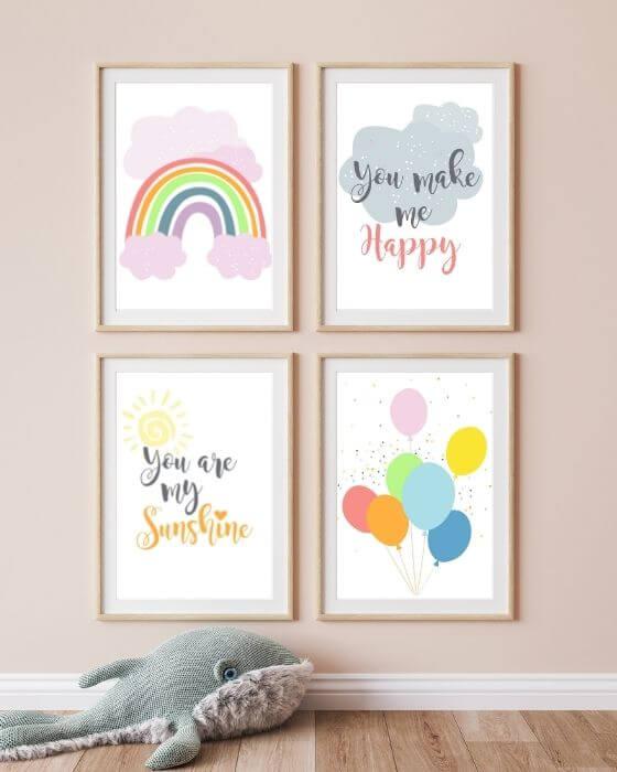 Babyzimmer Poster Set Regenbogen rosa - Posterset mit diversen Bildern in einem Bilderrahmen in Holzoptik und Seitenrand