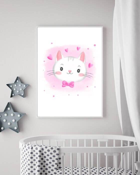 Babyzimmer Bilder Katze - Katzenposter in einem weißen Bilderrahmen ohne Seitenrand