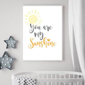 """Babyzimmer Bilder Schrift - Schönes Poster mit Schriftzug """"You are my sunshine"""" im schlichten, schmalen Rahmen"""