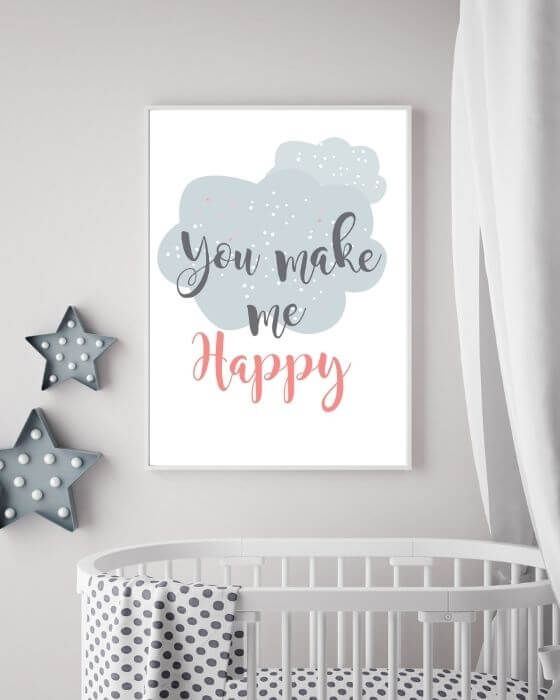 """Babyzimmer Bilder mit Schrift - Schönes Poster mit """"You make me happy"""" in einem schmalen, weißen Rahmen"""
