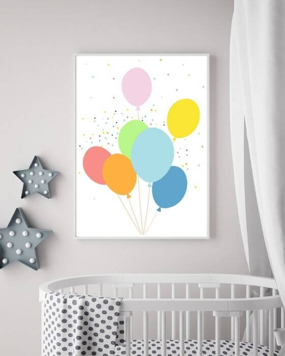Wandbilder Ballons - Tolles Poster mit bunten Ballons in einem schlichten, weißen Rahmen