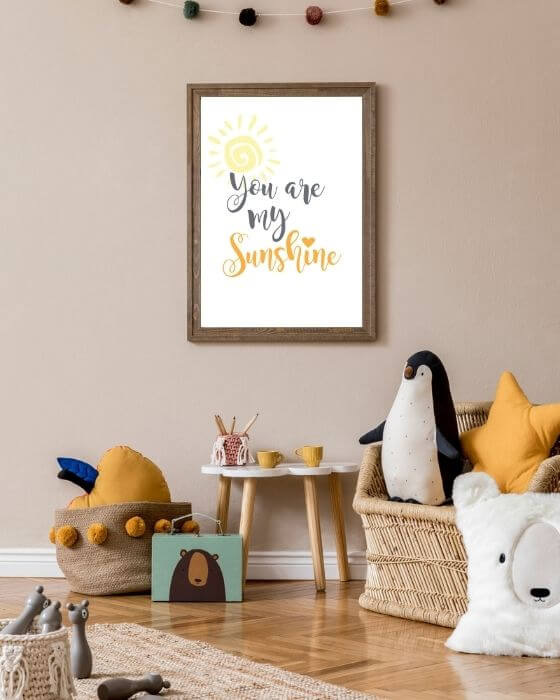 """Kinerzimmer Bilder Schrift - Poster mit Schriftzug """"You are my sunshine"""" im rustikalen Bilderrahmen"""