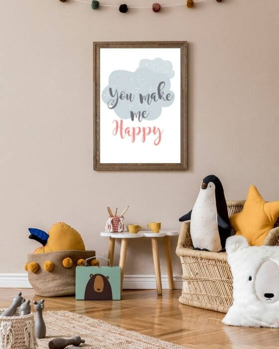 """Babyzimmer Wandbilder mit Schrift - Poster mit """"You make me happy"""" im braunen, rustikalen Rahmen"""