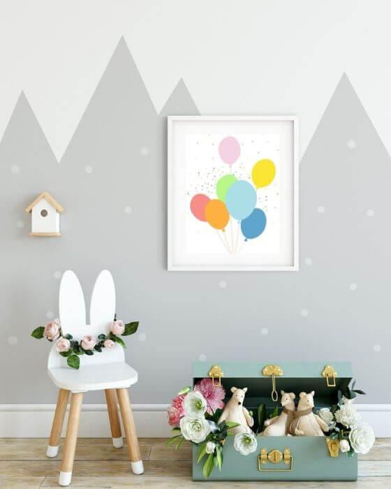 Kinderzimmer Poster Ballons - Poster mit bunten Ballons im Rahmen mit breitem Seitenrand