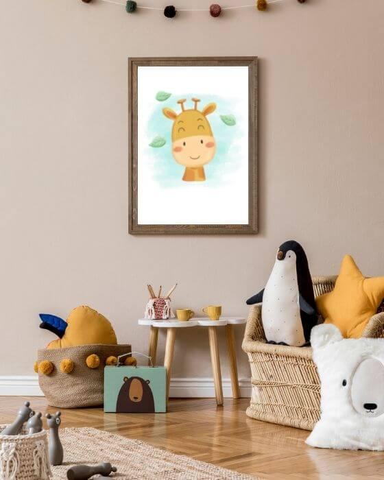 Babyzimmer Bilder Giraffe - Giraffen-Poster eingebettet in einem rustikalen, braunen Rahmen