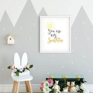 """Kinderzimmer Poster Schrift - Poster mit Schriftzug """"You are my sunshine"""" im Rahmen mit breitem Rand"""