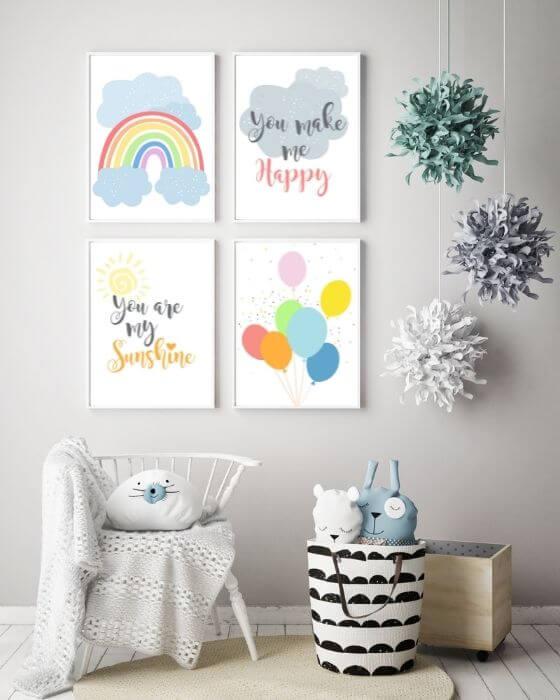 Wandbilder Regenbogen Set - 4er Posterset mit diversen Motiven in einem weißen Rahmen, ohne Seitenrand