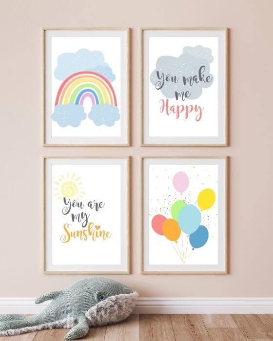 Kinderzimmer Set Bilder mit Regenbogen in blau - Herrliches Posterset mit verschiedenen Motiven in einem Rahmen in Holzoptik mit Seitenrand