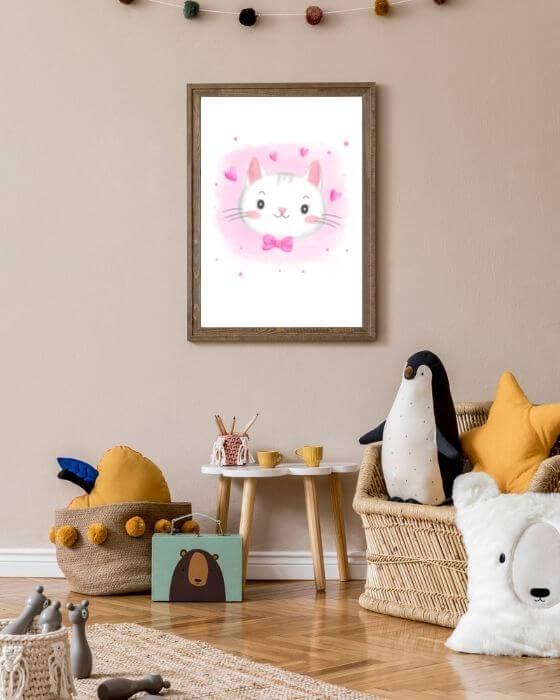 Wandbilder Katze - Poster mit einer Katze in einem rustikalen Rahmen in Braun für Kinder- und Babyzimmer