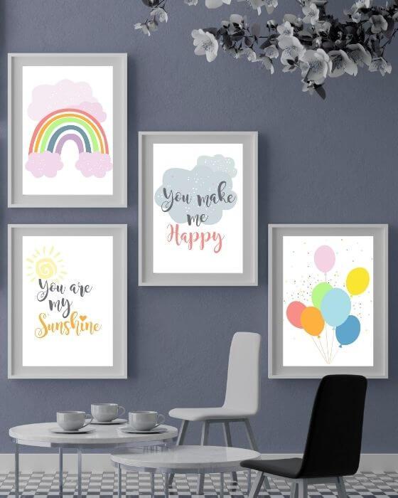 Wandbilder Set Regenbogen rosa - 4er Posterset mit verschiedenen Motiven im weißen Rahmen mit breitem Seitenrand