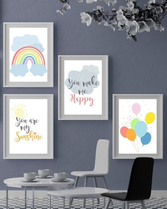 Babyzimmer Set mit Regenbogen Bild - Posterset mit unterschiedlichen Motiven im weißen Rahmen mit Seitenrand